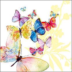 Servetele - Fluturi in zbor (alb) - 33x33cm, 4buc