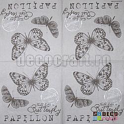 Servetele - Fluturi in stil vintage - 25x25cm, 4buc