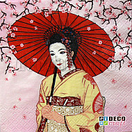 Servetele - Geisha cu umbrela - 33x33cm, 4 buc