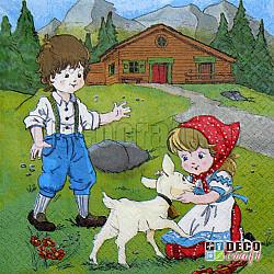 Servetele - Heidi si Peter in Alpi - 33x33cm, 4 buc