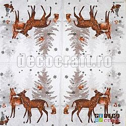 Servetele - Iarna in padure - 33x33cm, 4 buc.