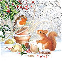 Servetele - Ilustratie de iarna - 33x33cm, 4 buc.