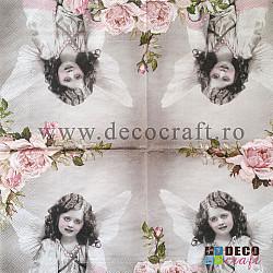 Servetele - Inger cu trandafiri roz - 33x33cm, 4buc