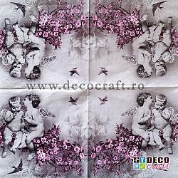 Servetele - Ingeri si flori de ciresi - 33x33 cm, 4buc.