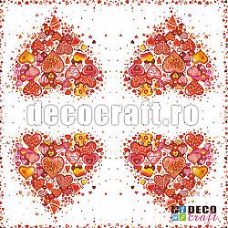 Servetele - Inima - 33x33cm, 4 buc.