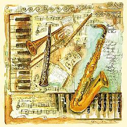 Servetele - Instrumente muzicale - 33x33cm, 4buc