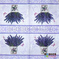 Servetele - Lavanda inflorita - 33x33cm, 4 buc