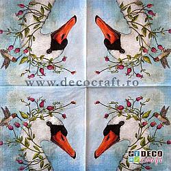 Servetele - Lebada si colibri - 25x25cm, 4 buc