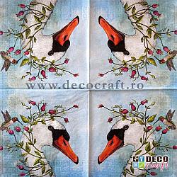 Servetele - Lebada si colibri - 33x33cm, 4 buc