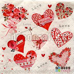 Servetele - Multa dragoste - 33x33cm, 4buc