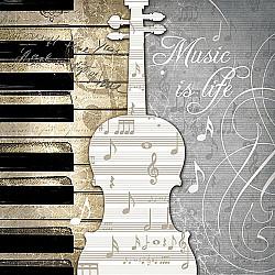 Servetele - Muzica este viata - 33x33cm, 4 buc.
