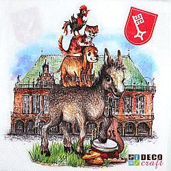 Servetele - Muzicienii din Bremen - 33x33cm, 4 buc