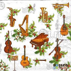 Servetele - Orchestra de Craciun - 33x33cm, 4 buc.