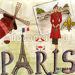Servetele - Parisul in imagini - 33x33cm, 4buc