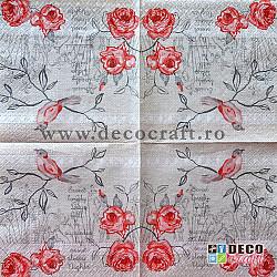Servetele - Pasarea si florile - 33x33cm, 4 buc