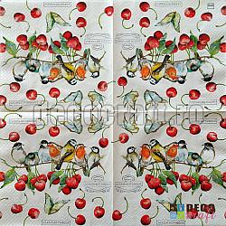 Servetele - Pasari si cirese - 33x33cm, 4 buc