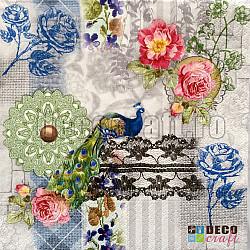 Servetele - Paun, flori si dantela - 33x33cm, 4buc
