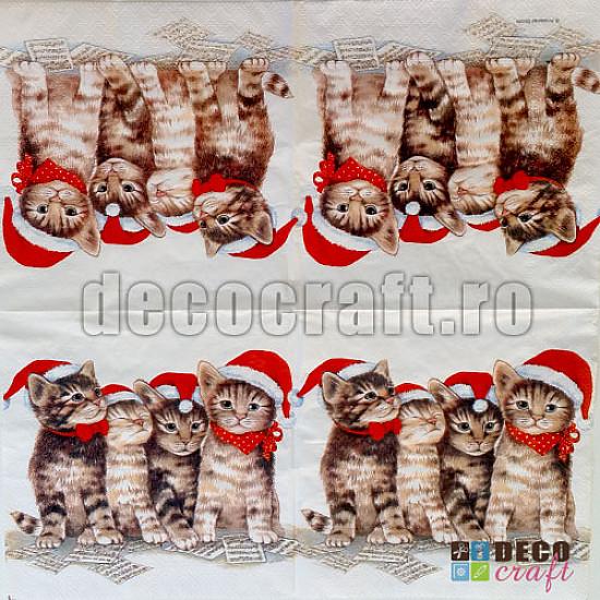 Servetele - Pisici la colindat - 33x33cm, 4 buc