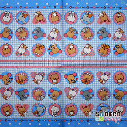 Servetele - Pui de animale (bleu) - 33x33cm, 4 buc