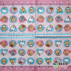 Servetele - Pui de animale (roz) - 25x25cm, 4 buc