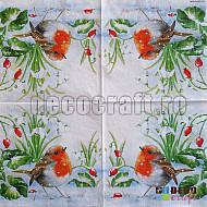 Servetele - Robin cu ghiocei - 33x33cm, 1 pachet (20 buc.)