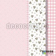 Servetele - Roz cu flori - 33x33cm, 4 buc.