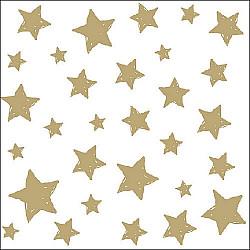 Servetele - Stele (auriu) - 33x33cm, 4 buc