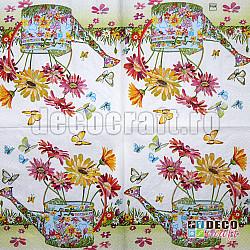 Servetele - Stropitoare cu flori - 33x33cm, 4 buc