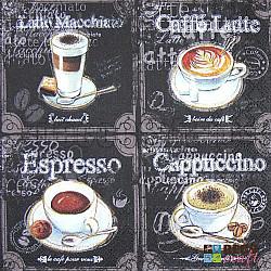 Servetele - Tipuri de cafea - 33x33cm, 4 buc.
