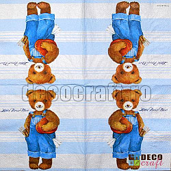 Servetele - Ursulet (bleu) - 33x33cm, 4 buc