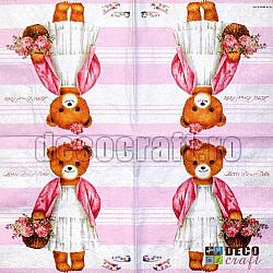 Servetele - Ursulet (roz) - 33x33cm, 4 buc