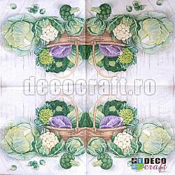 Servetele - Varza, conopida, brocoli - 33x33cm, 4 buc.