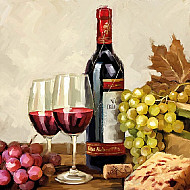 Servetele - Vin si struguri - 33x33cm, 4 buc