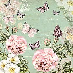 Servetele - Vintage, fluturi si flori (verde) - 33x33cm, 4buc