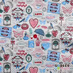 Servetele - Vintage Love - 33x33cm, 4 buc