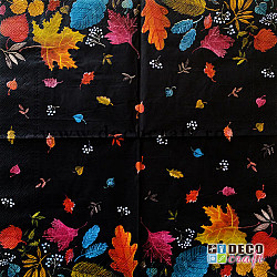 Servetele - Zi de toamna (negru) - 33x33 cm, 4buc.