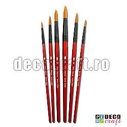 Set 6 pensule rotunde cu par sintetic