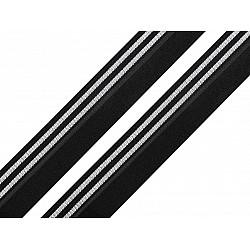 Elastic bias la metru, lățime 20 mm - negru/argintiu