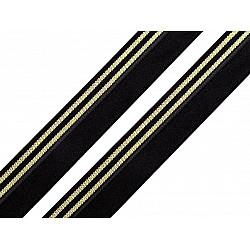 Elastic bias la metru, lățime 20 mm - negru/auriu