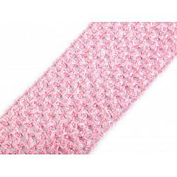 Bandă elastica croșetată TUTU la metru, lățime 7 cm - roz deschis