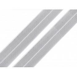 Elastic bias cu lurex, lățime 20 mm (card 13.5 m) - alb - argintiu