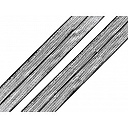 Elastic bias cu lurex, lățime 20 mm (card 13.5 m) - negru - argintiu