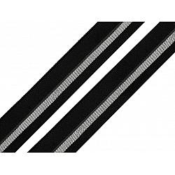 Elastic bias la metru, lățime 20 mm - negru - argintiu