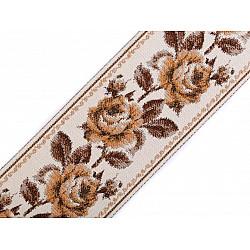 Panglică cu motiv floral țesut tip goblen la metru, lățime 9 cm - bej închis