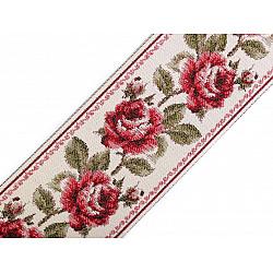 Panglică cu motiv floral țesut tip goblen la metru, lățime 9 cm - roșu închis