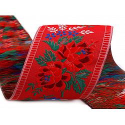 Panglică cu motive tradiționale la metru, lățime 55 mm - roșu deschis