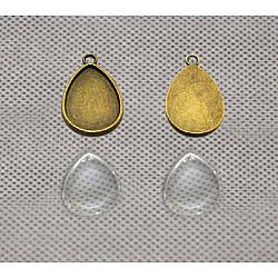 Sticla cabochon picatura -18*25 mm, 4 buc.